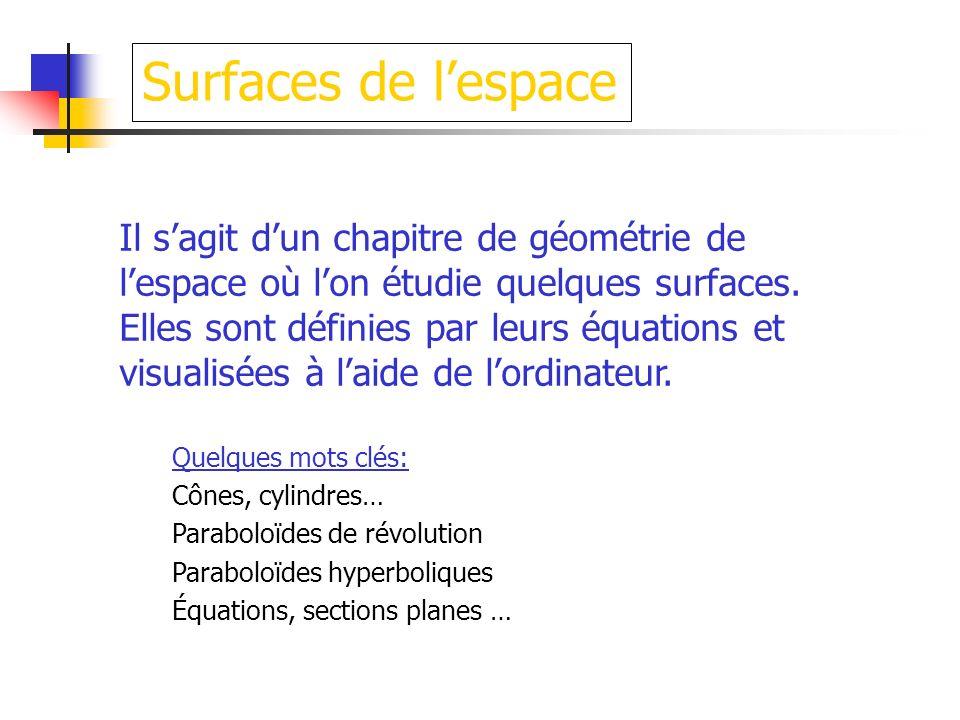 Surfaces de l'espace