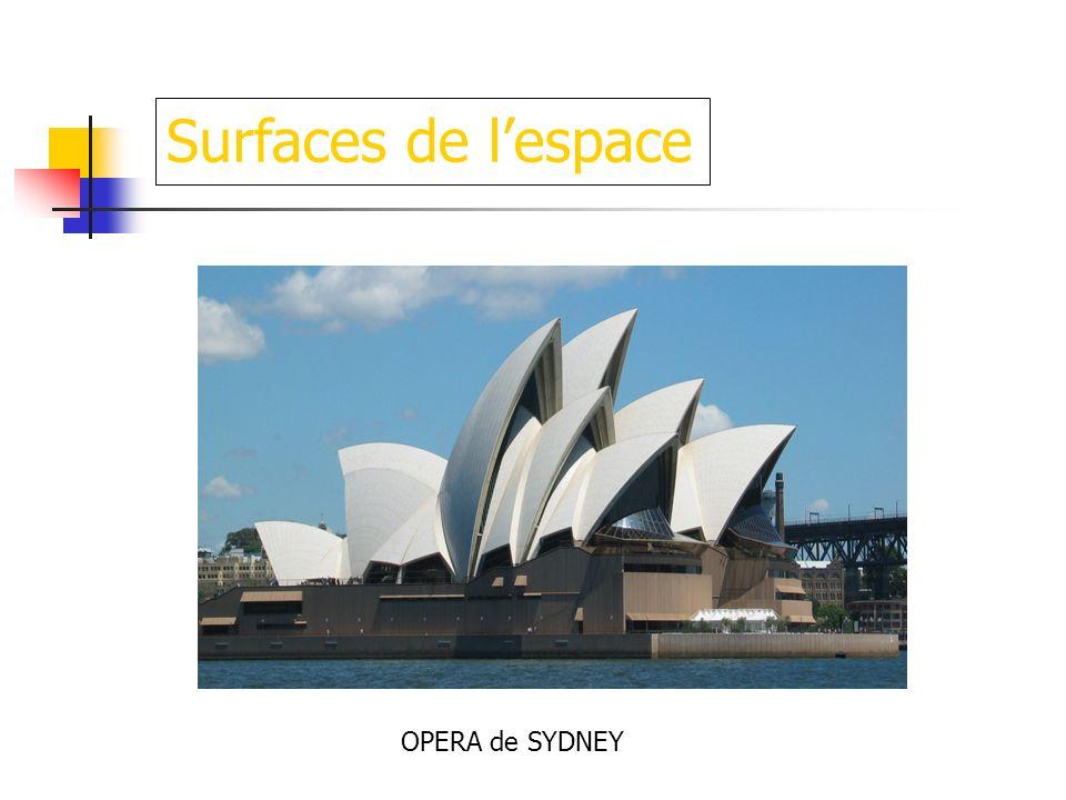 Surfaces de l'espace OPERA de SYDNEY