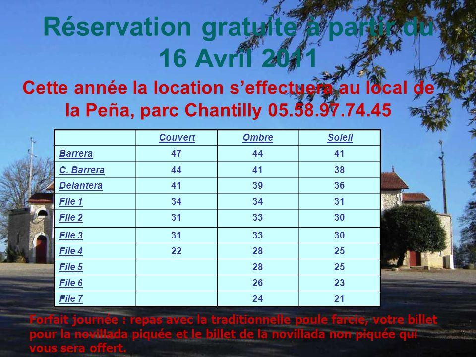 Réservation gratuite à partir du 16 Avril 2011