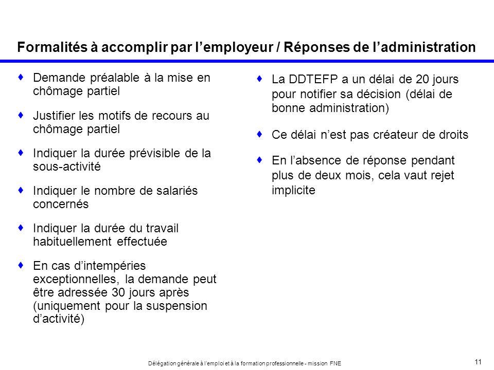 Formalités à accomplir par l'employeur / Réponses de l'administration