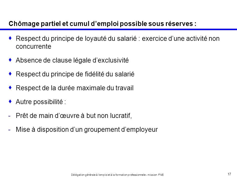 Chômage partiel et cumul d'emploi possible sous réserves :