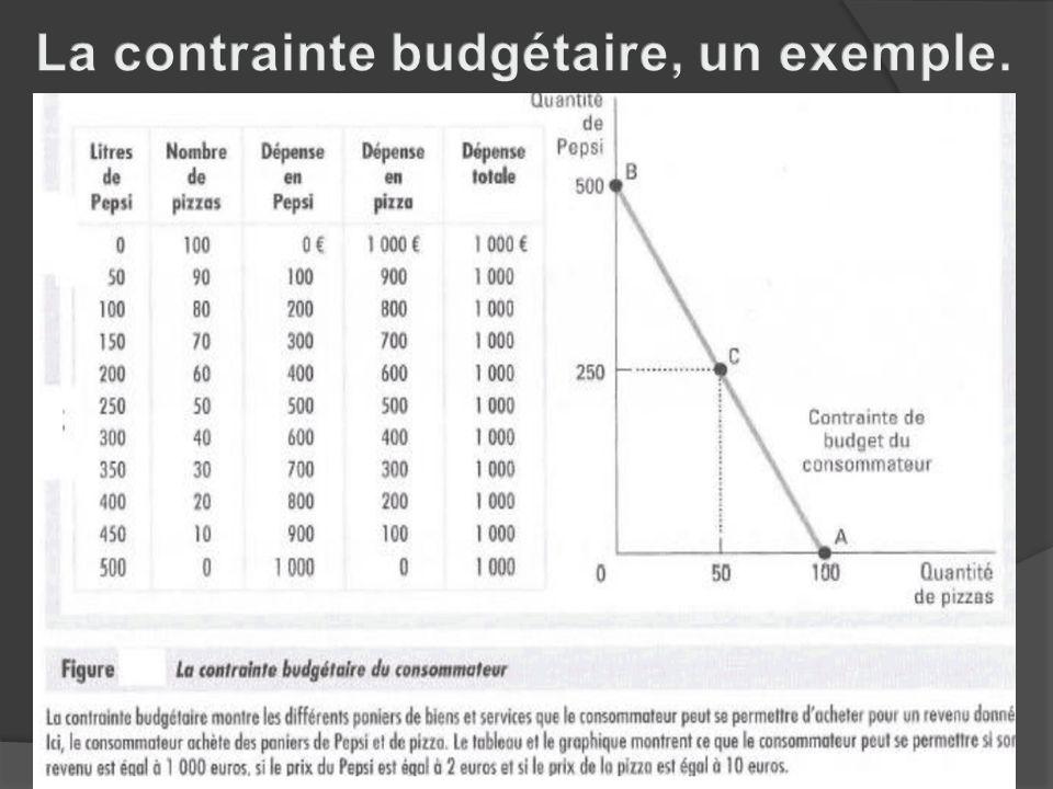 La contrainte budgétaire, un exemple.