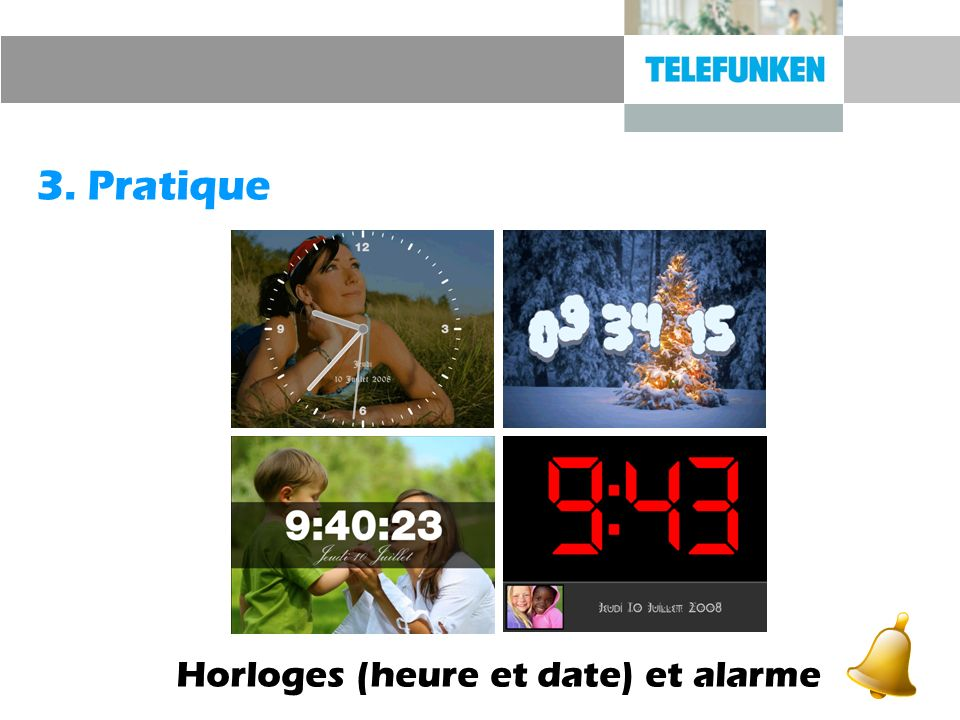 Horloges (heure et date) et alarme