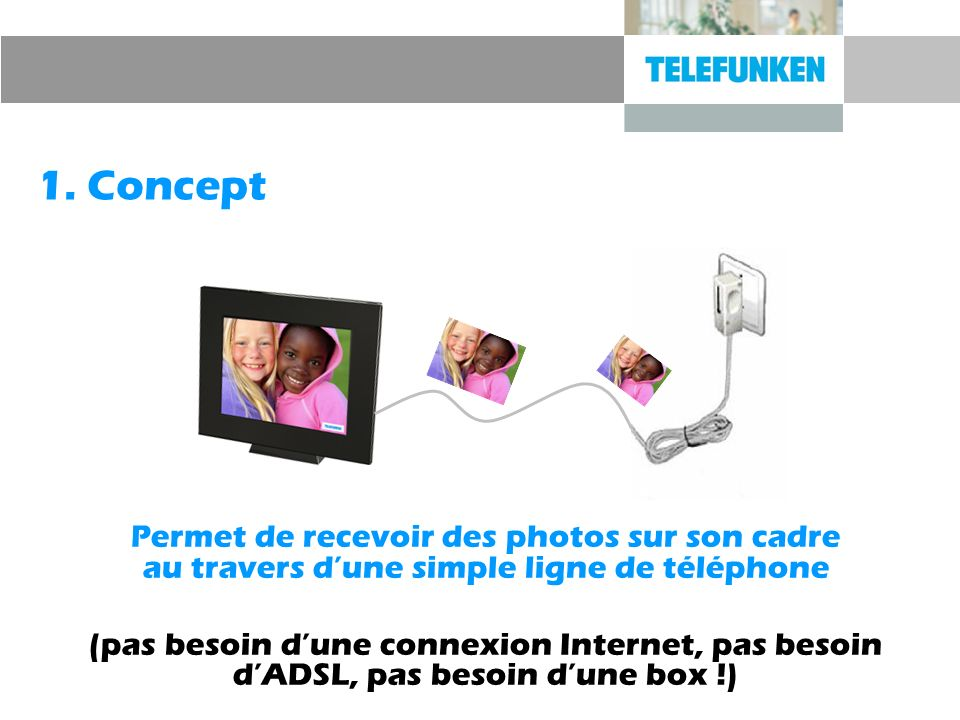 1. ConceptPermet de recevoir des photos sur son cadre au travers d'une simple ligne de téléphone.