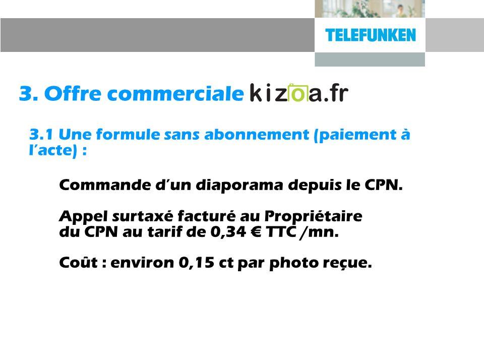 3. Offre commerciale 3.1 Une formule sans abonnement (paiement à l'acte) :