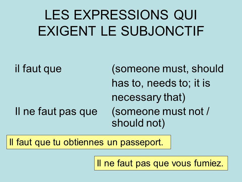LES EXPRESSIONS QUI EXIGENT LE SUBJONCTIF
