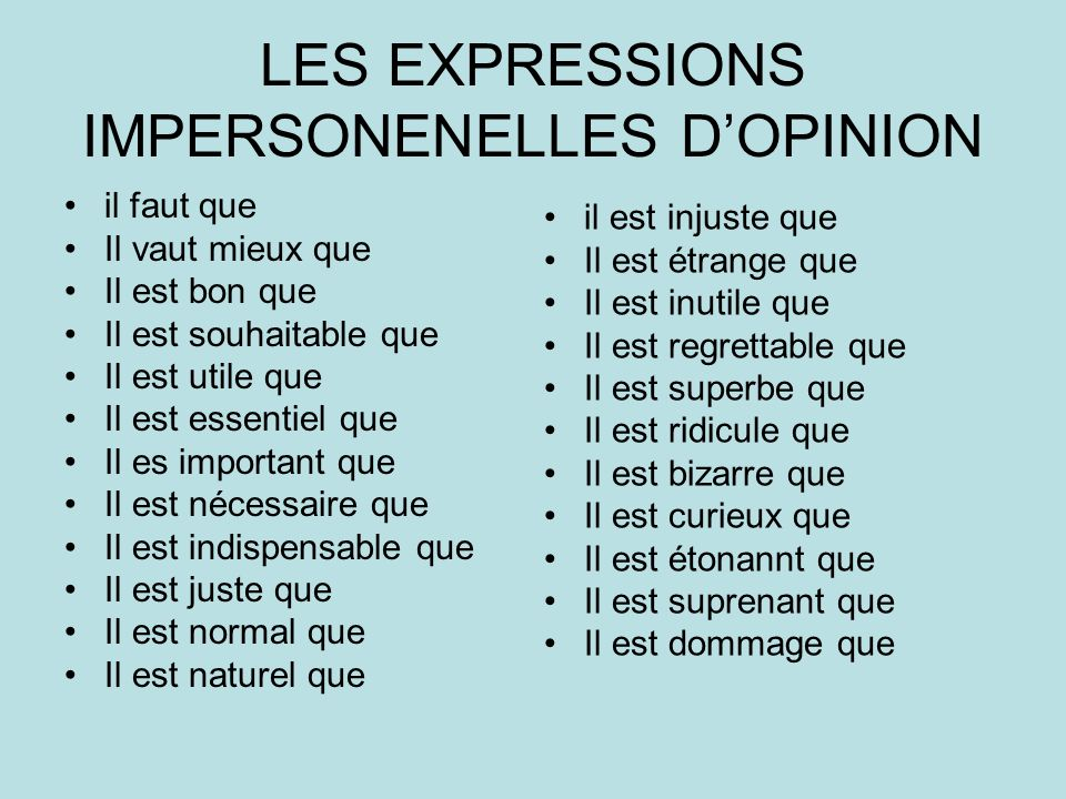 LES EXPRESSIONS IMPERSONENELLES D'OPINION