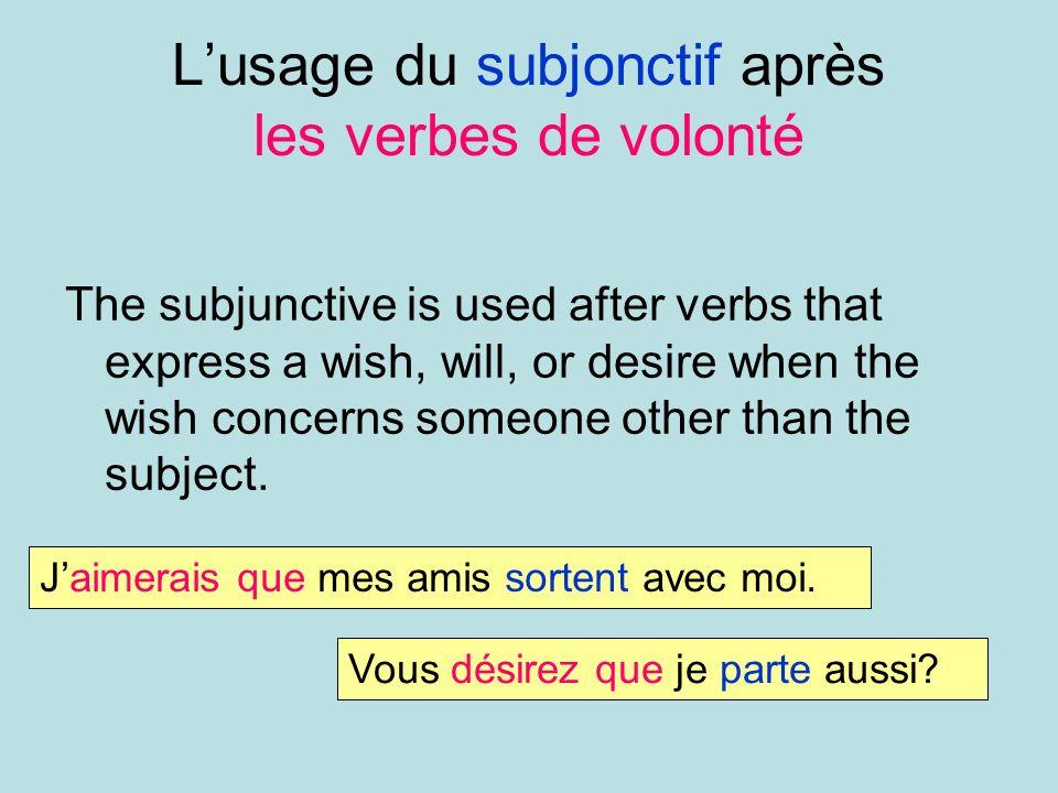 L'usage du subjonctif après les verbes de volonté