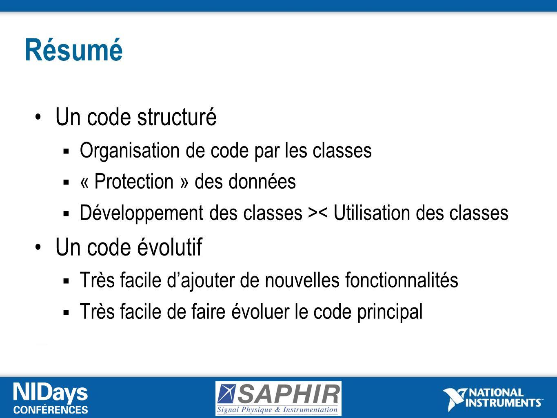Résumé Un code structuré Un code évolutif