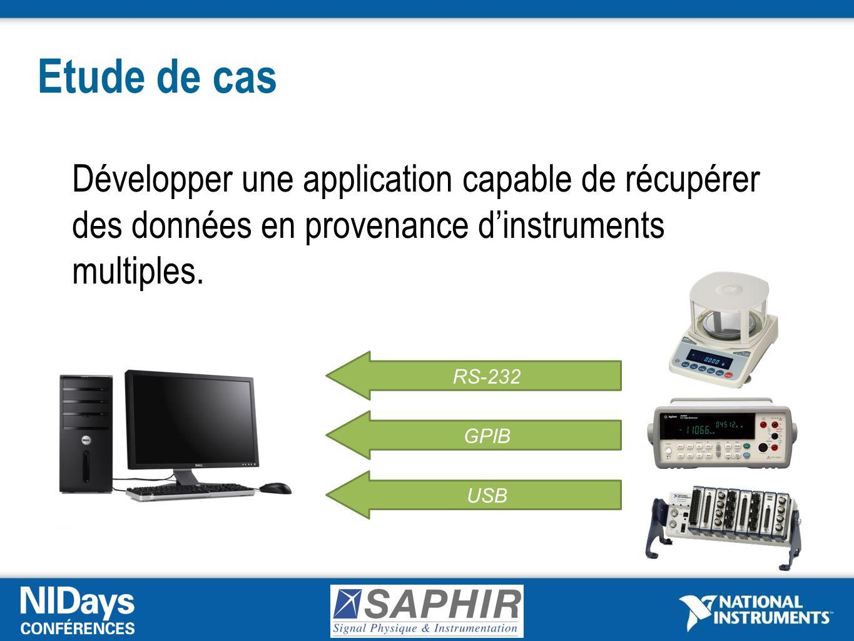 Etude de cas Développer une application capable de récupérer des données en provenance d'instruments multiples.