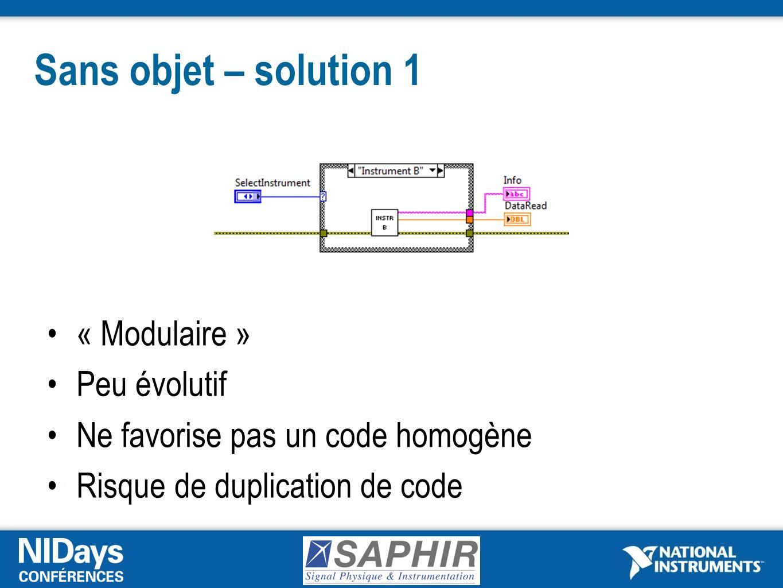 Sans objet – solution 1 « Modulaire » Peu évolutif