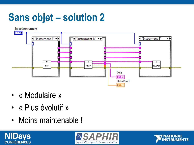 Sans objet – solution 2 « Modulaire » « Plus évolutif »