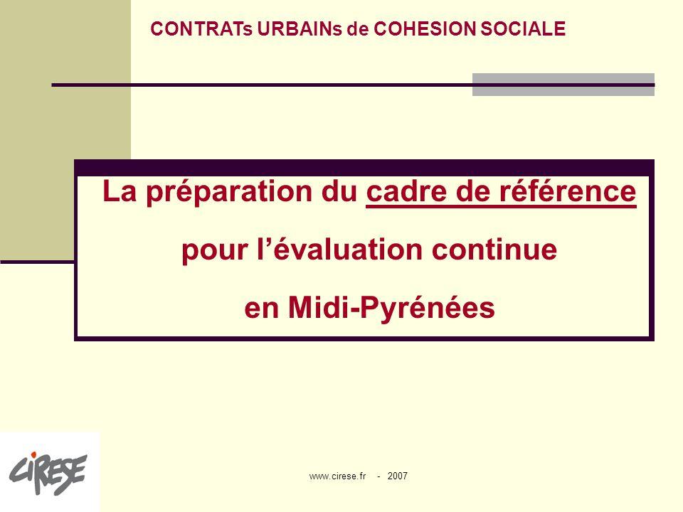 La préparation du cadre de référence pour l'évaluation continue