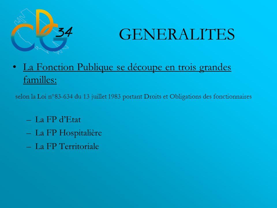 GENERALITES La Fonction Publique se découpe en trois grandes familles: