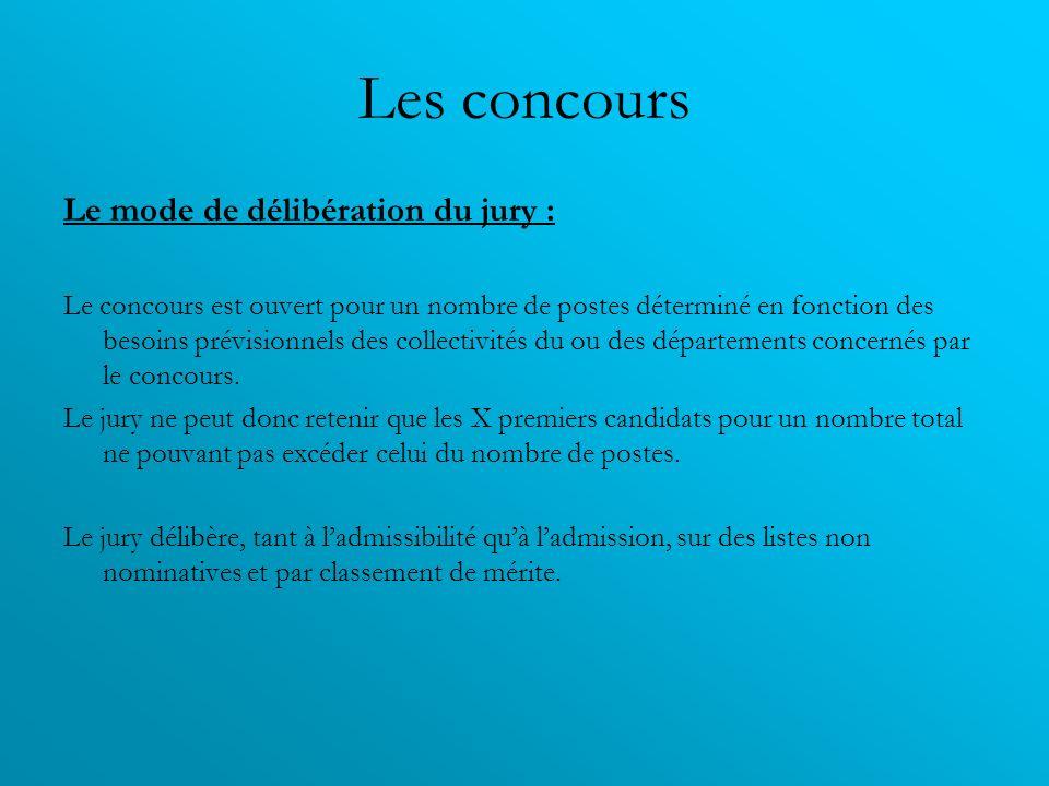Les concours Le mode de délibération du jury :