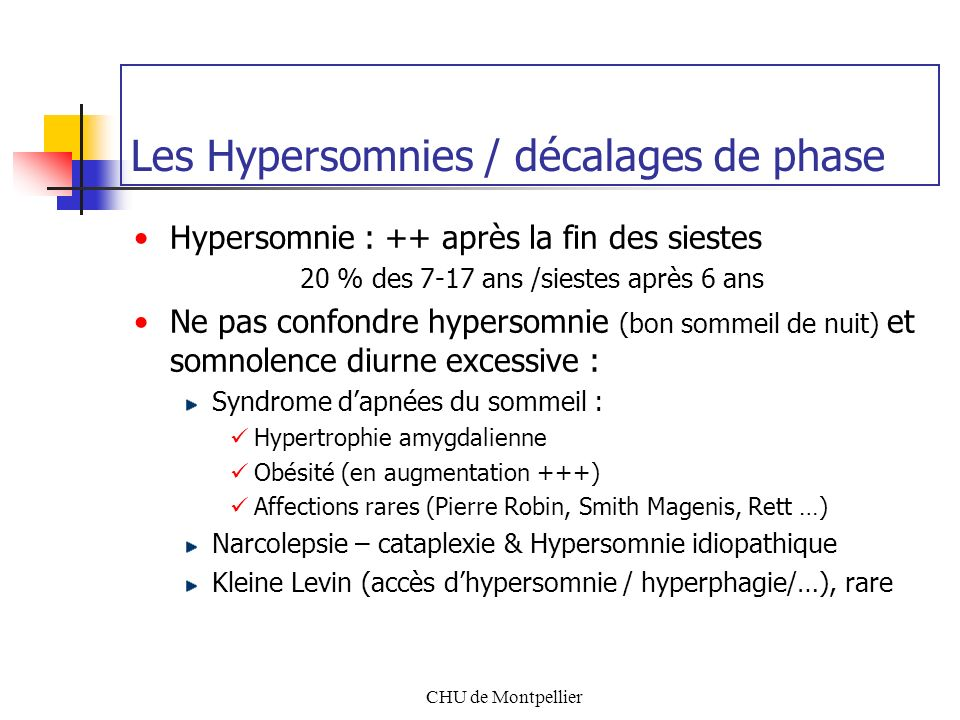 Les Hypersomnies / décalages de phase