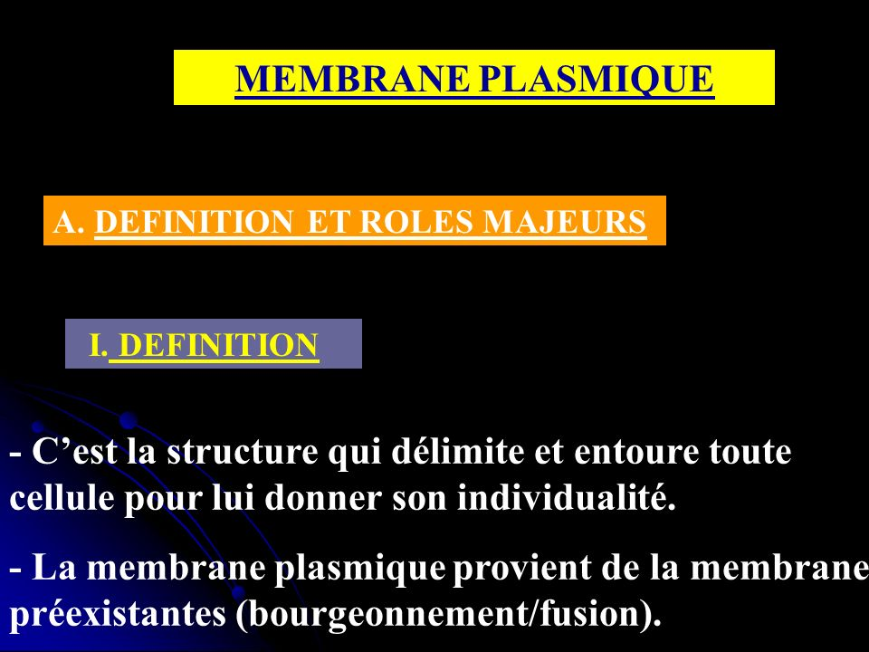MEMBRANE PLASMIQUE A. DEFINITION ET ROLES MAJEURS. I. DEFINITION.