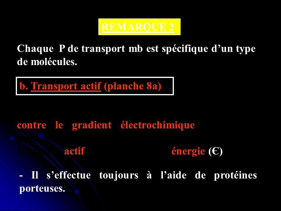 REMARQUE 2Chaque P de transport mb est spécifique d'un type de molécules. b. Transport actif (planche 8a)