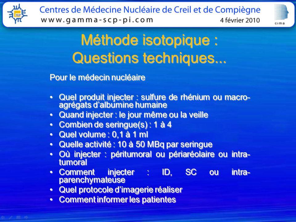 Méthode isotopique : Questions techniques...