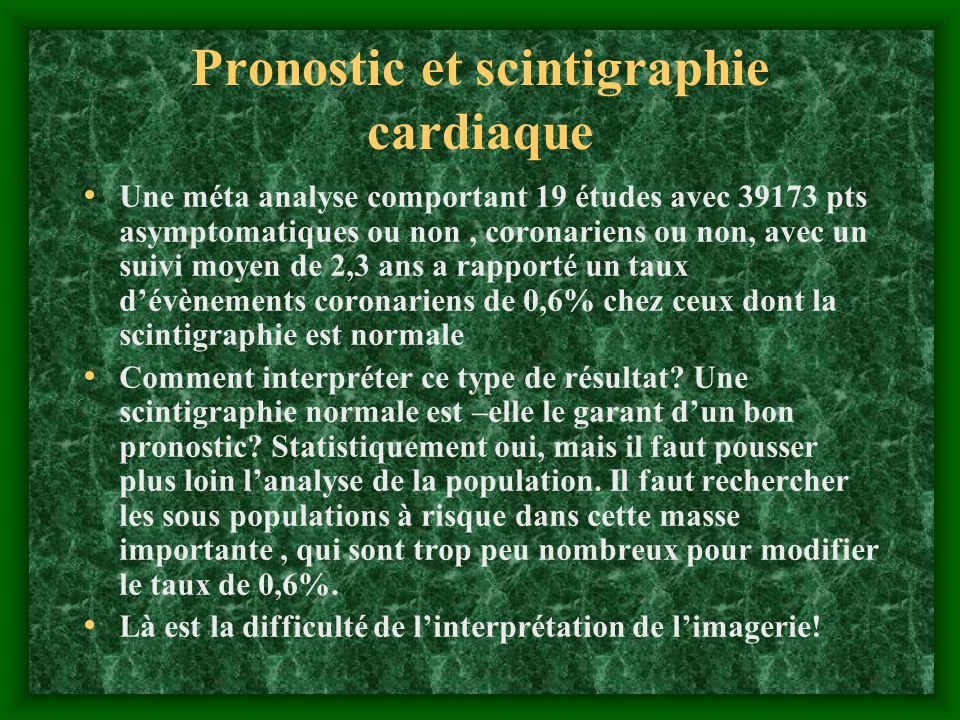 Pronostic et scintigraphie cardiaque