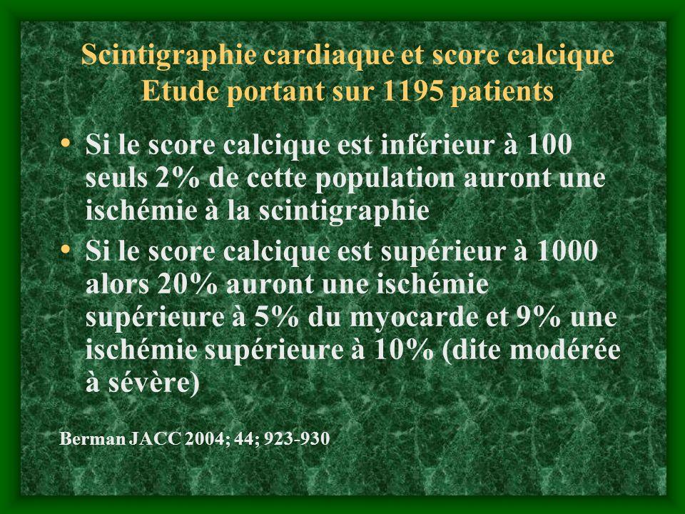 Scintigraphie cardiaque et score calcique Etude portant sur 1195 patients