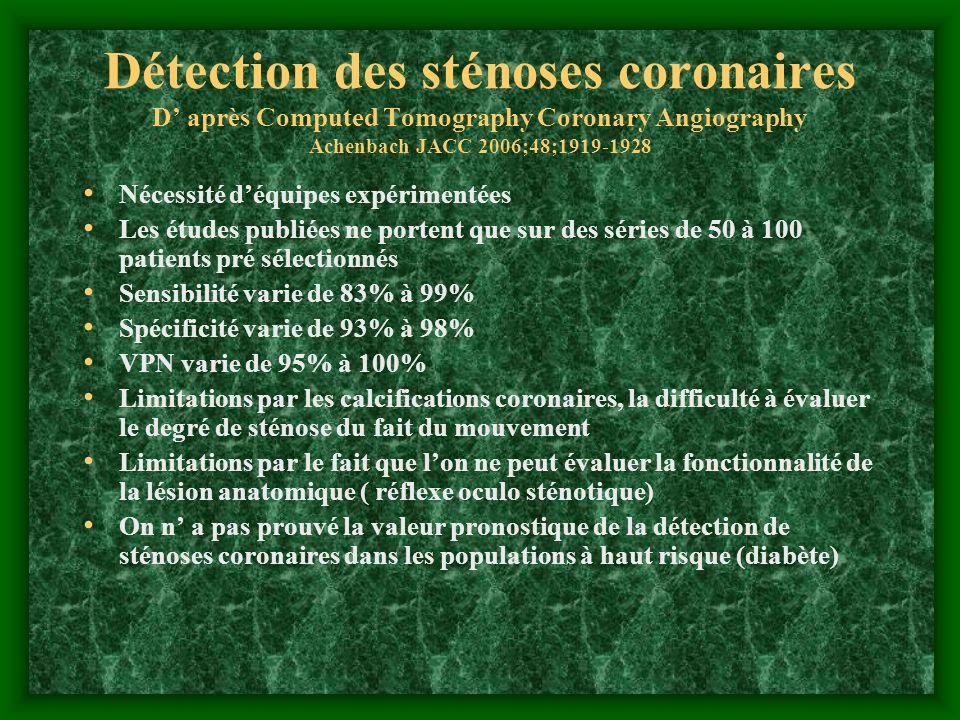 Détection des sténoses coronaires D' après Computed Tomography Coronary Angiography Achenbach JACC 2006;48;1919-1928