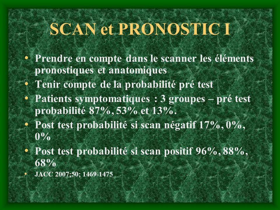 SCAN et PRONOSTIC I Prendre en compte dans le scanner les éléments pronostiques et anatomiques. Tenir compte de la probabilité pré test.