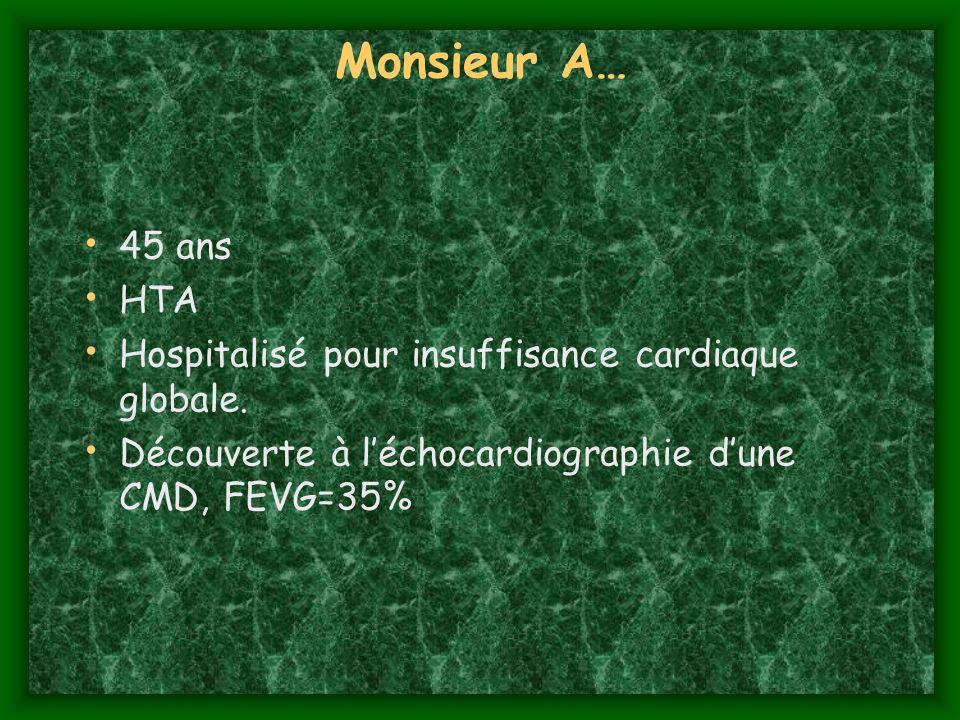 Monsieur A…45 ans.HTA. Hospitalisé pour insuffisance cardiaque globale.