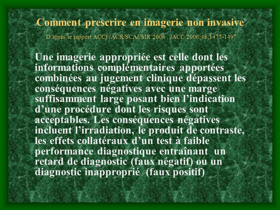 Comment prescrire en imagerie non invasive D'après le rapport ACCF/ACR/SCAI/SIR 2006 . JACC 2006;48;1475-1497