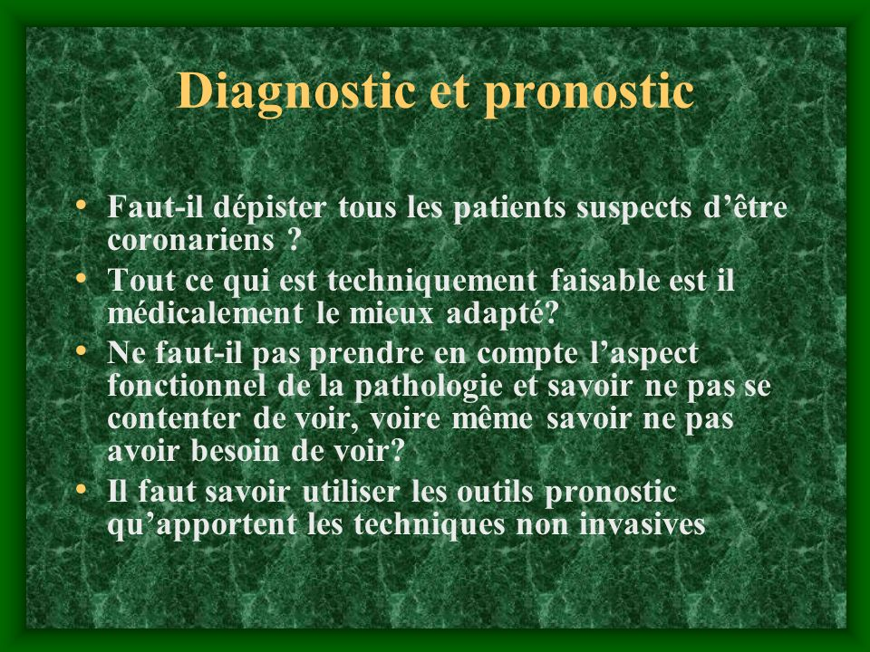 Diagnostic et pronostic