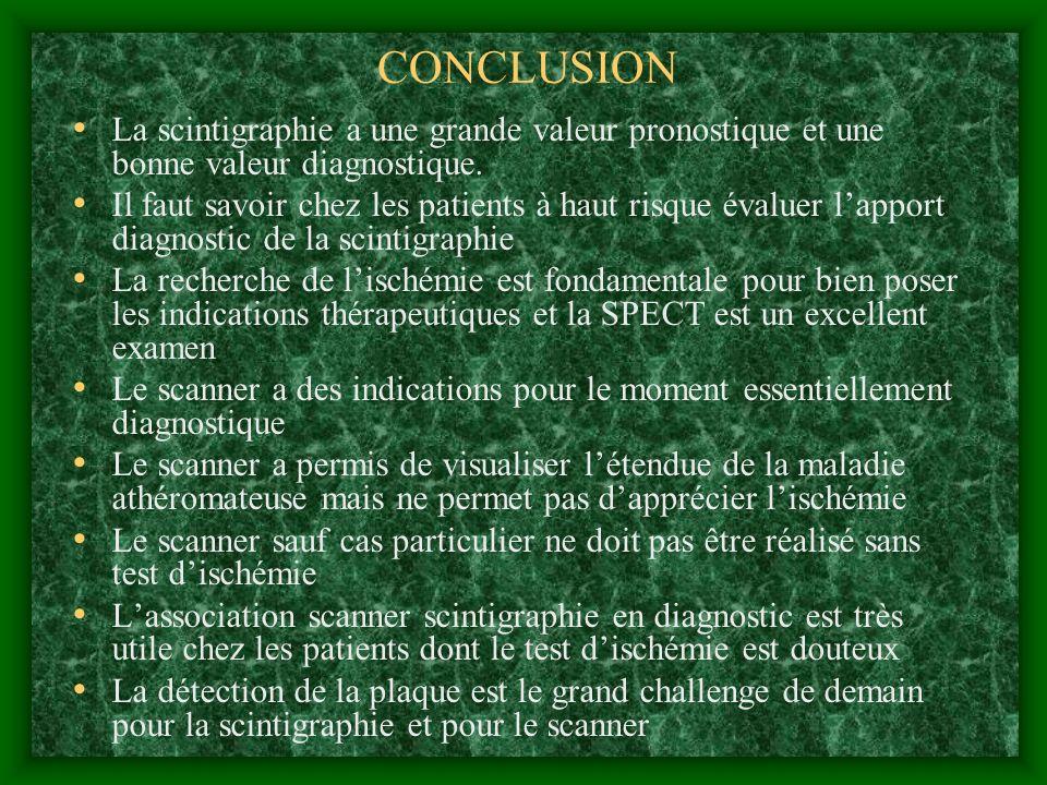 CONCLUSION La scintigraphie a une grande valeur pronostique et une bonne valeur diagnostique.