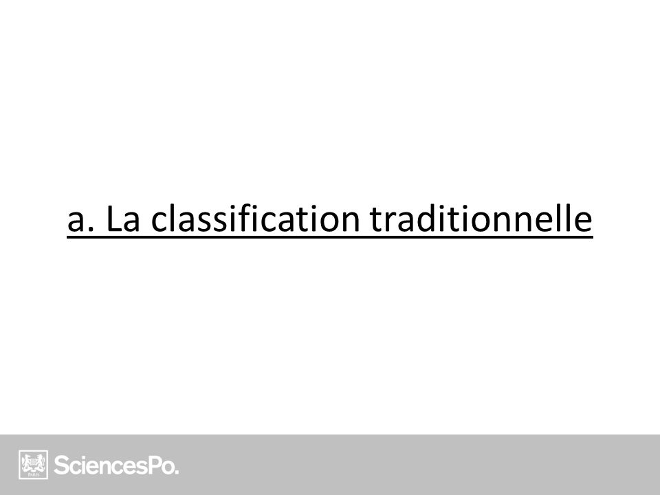 a. La classification traditionnelle