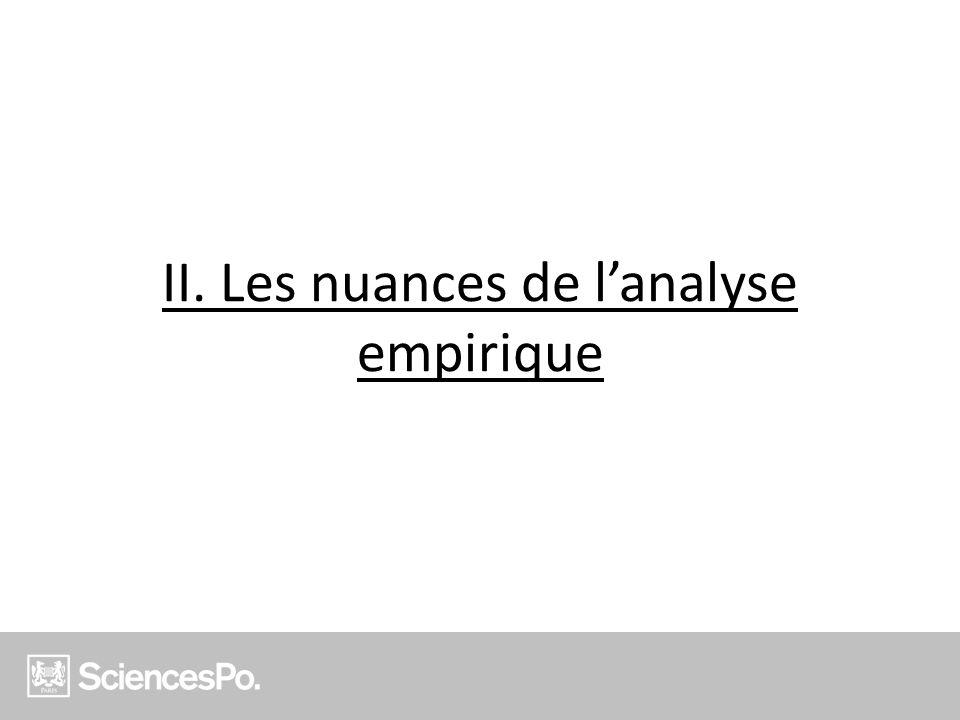 II. Les nuances de l'analyse empirique