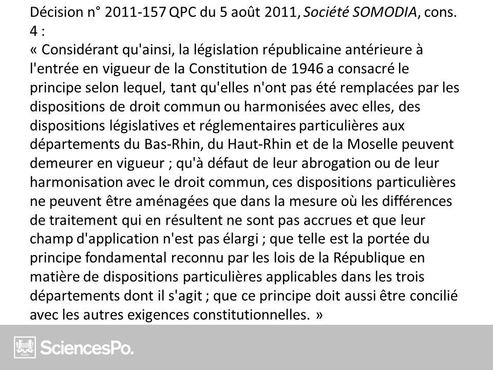 Décision n° 2011-157 QPC du 5 août 2011, Société SOMODIA, cons
