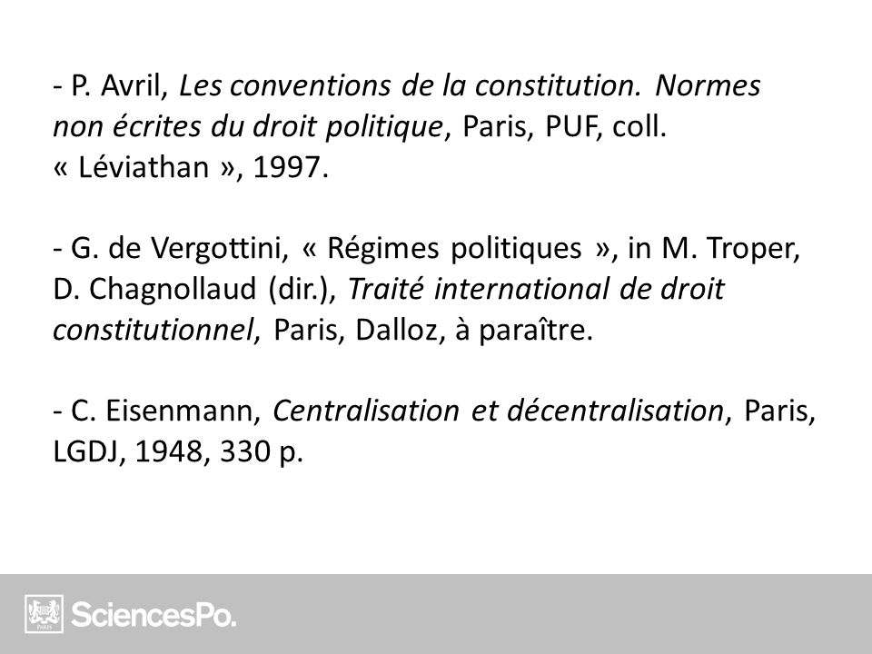 P. Avril, Les conventions de la constitution