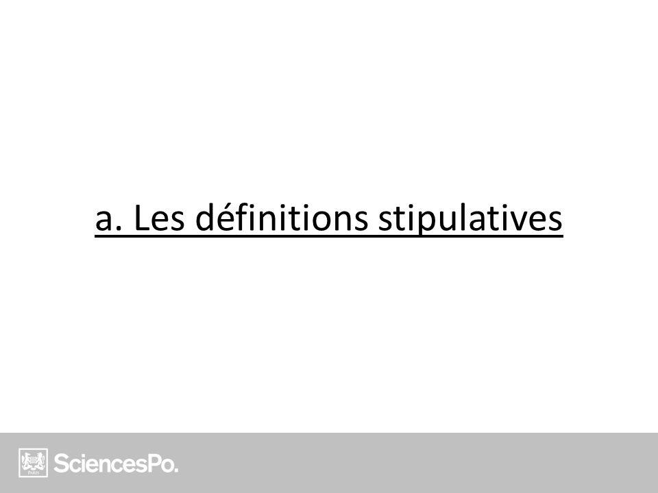 a. Les définitions stipulatives