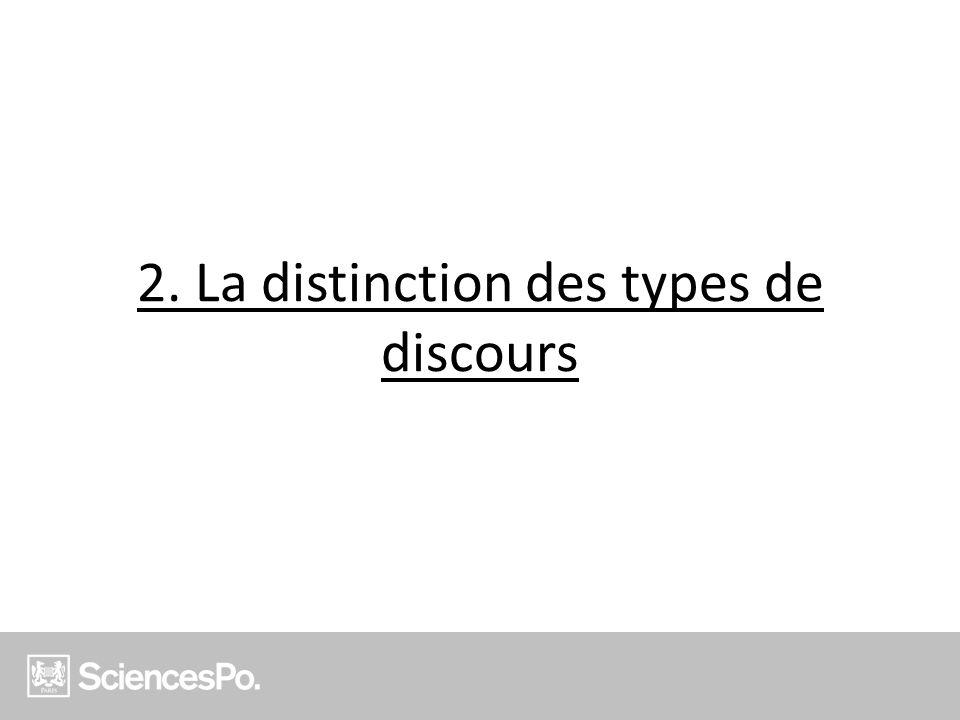 2. La distinction des types de discours