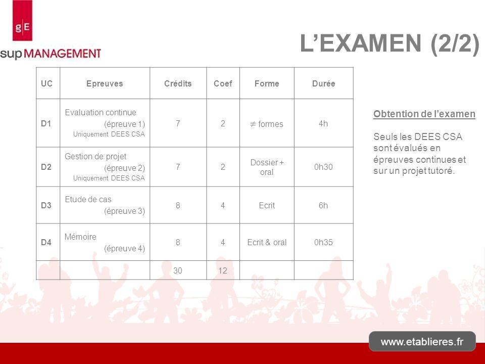 L'EXAMEN (2/2)  formes www.etablieres.fr Obtention de l'examen