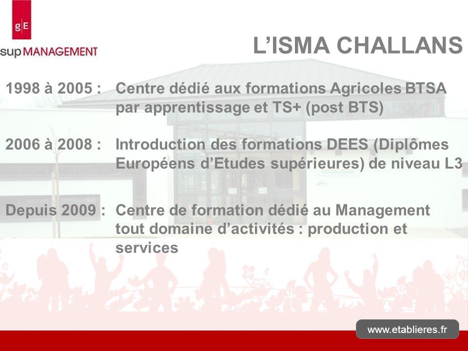 L'ISMA CHALLANS 1998 à 2005 : Centre dédié aux formations Agricoles BTSA par apprentissage et TS+ (post BTS)