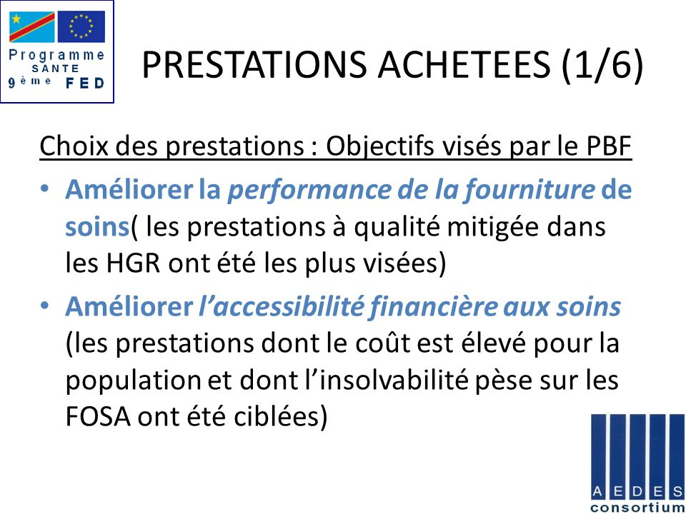 PRESTATIONS ACHETEES (1/6)