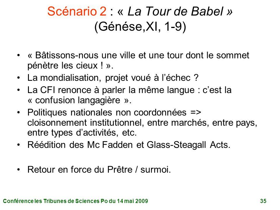 Scénario 2 : « La Tour de Babel » (Génése,XI, 1-9)