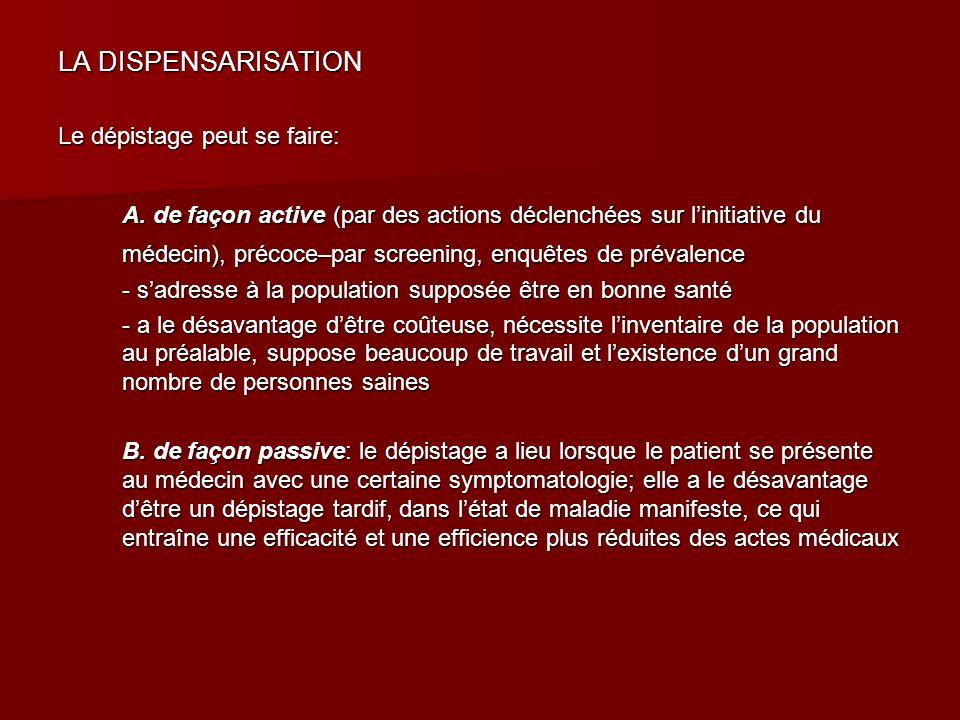 LA DISPENSARISATION Le dépistage peut se faire: