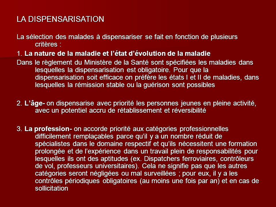 LA DISPENSARISATION La sélection des malades à dispensariser se fait en fonction de plusieurs critères :