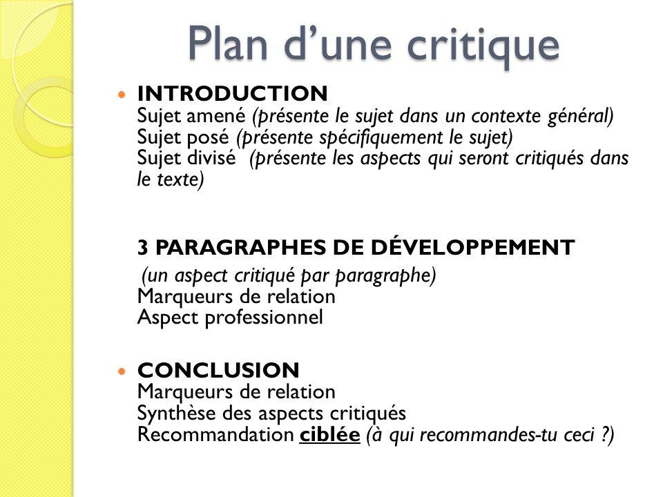 Plan d'une critique