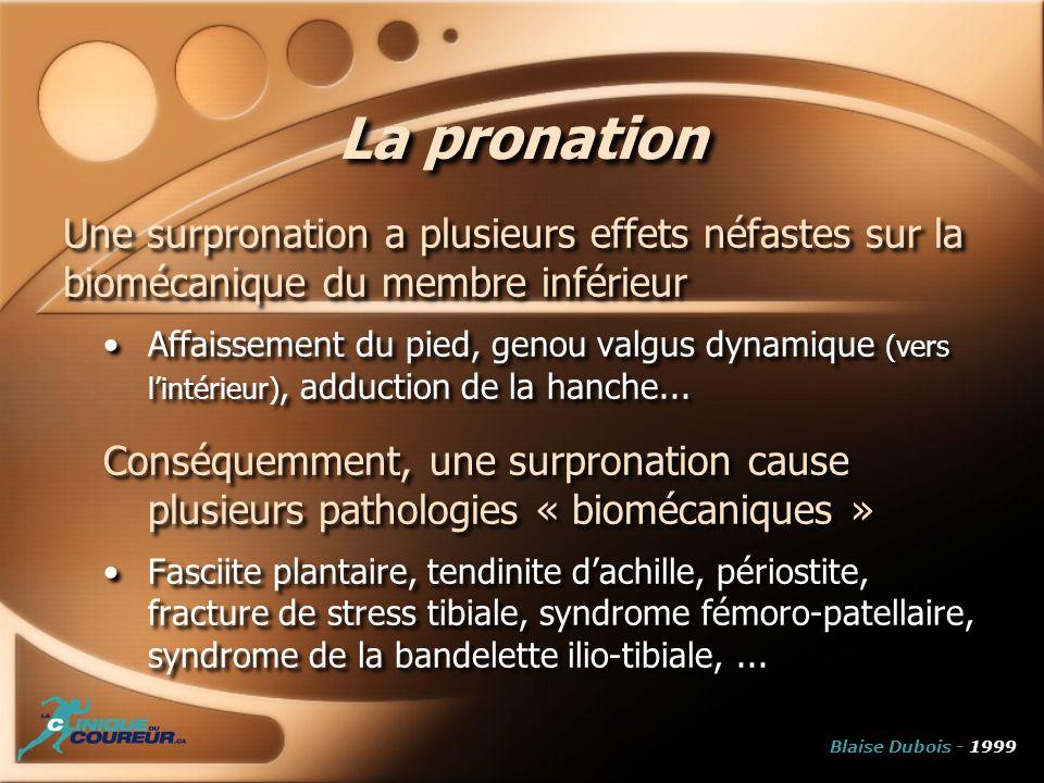 La pronation Une surpronation a plusieurs effets néfastes sur la biomécanique du membre inférieur.