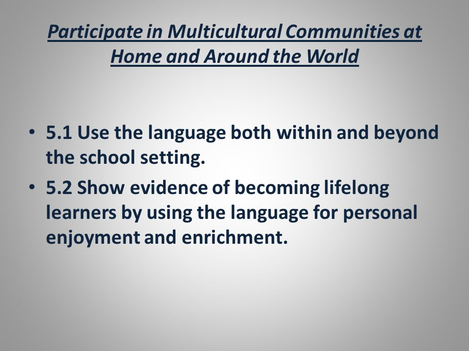 Participate in Multicultural Communities at Home and Around the World