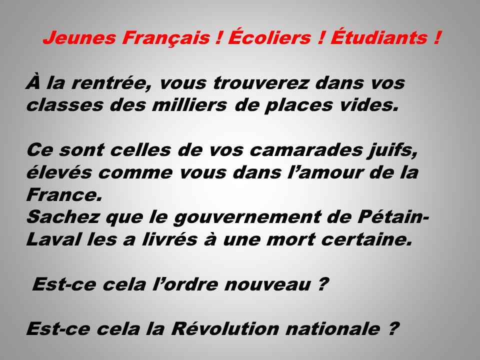 Jeunes Français ! Écoliers ! Étudiants !