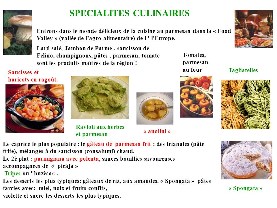SPECIALITES CULINAIRES