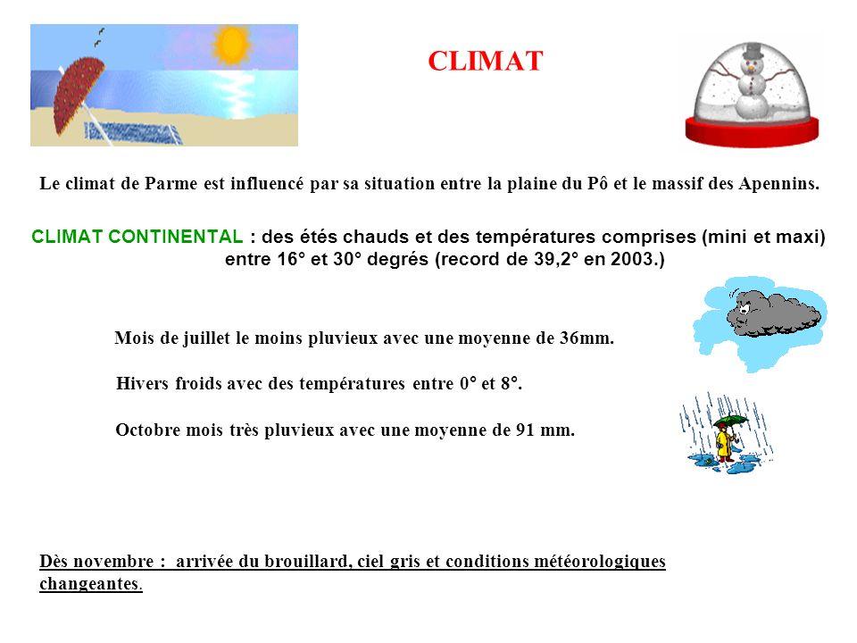 CLIMATLe climat de Parme est influencé par sa situation entre la plaine du Pô et le massif des Apennins.