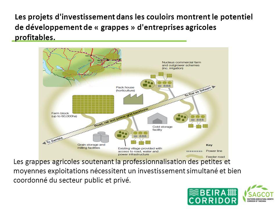 Les projets d investissement dans les couloirs montrent le potentiel de développement de « grappes » d entreprises agricoles profitables.